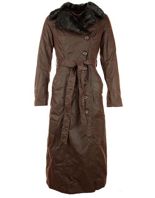 Womens M (12) 'Rosetti' Brown Full Length Waxed Coat was £595