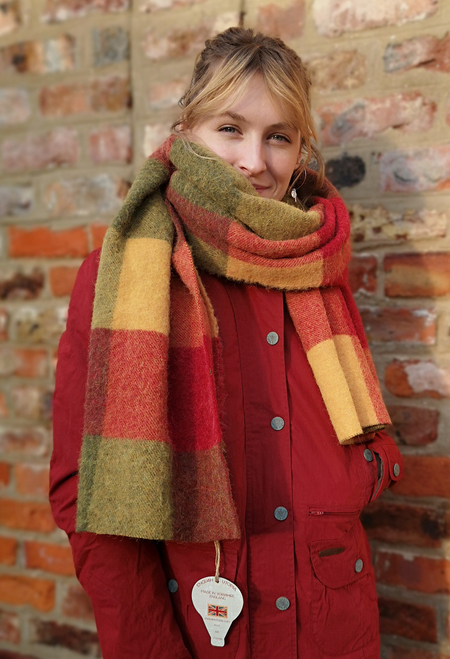 'Eglantine' Red and Green Check Blanket Scarf