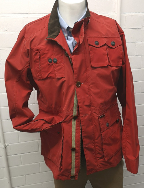 Mens 'Old John' Red Lightweight Cotton Waxed Jacket