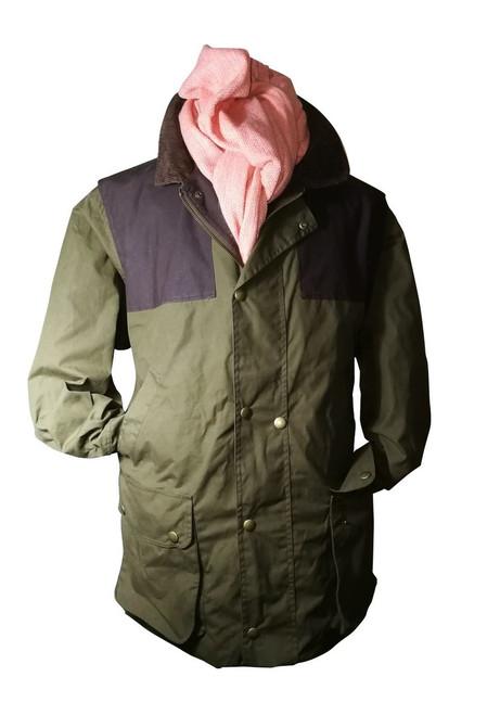 Mens L 'Soulard Storm' Olive Convertible Wax Coat