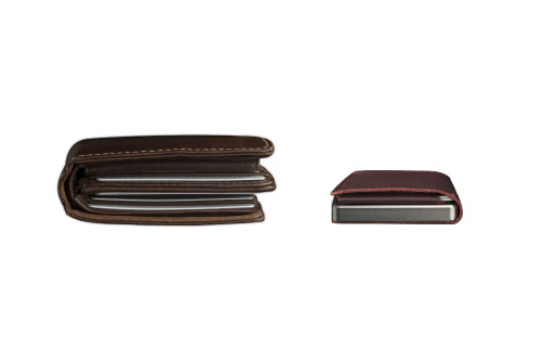 Craft Wallet Wine Red Leather Silver Aluminum Closed Top View With Cards Inside vs Fat Leather Wallet