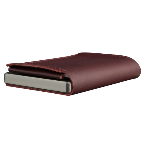 Craft Wallet Wine Red Leather Silver Aluminum Closed Bottom Right Side Corner View With Cards Inside