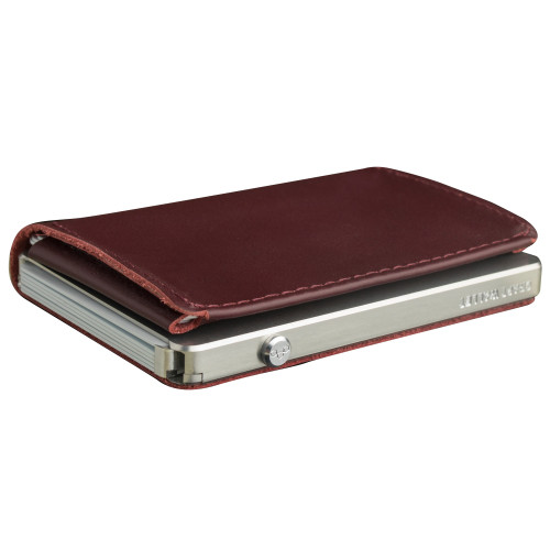 Craft Wallet Wine Red Leather Silver Aluminum Closed Top Left Side Corner View With Cards Inside