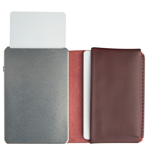 Craft Wallet Wine Red Leather Silver Aluminum Standing Open Cards Released Front of Wallet