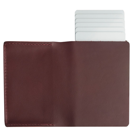Craft Wallet Wine Red Leather Silver Aluminum Standing Open Cards Release Back  of Wallet