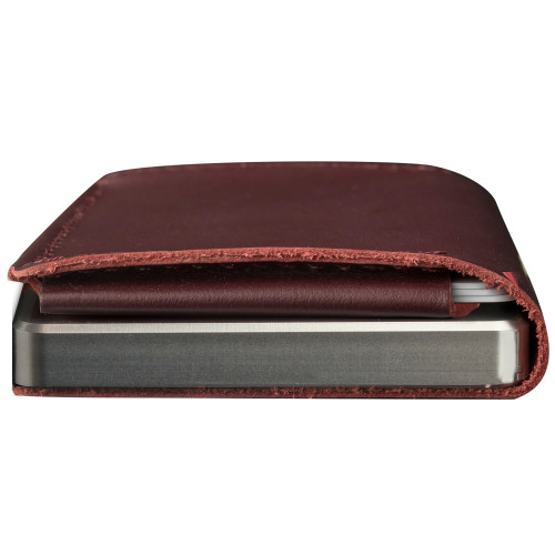 Craft Wallet Wine Red Leather Silver Aluminum Closed Bottom Side View With Cards Inside
