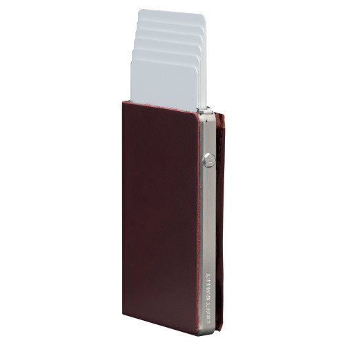 Craft Wallet Wine Red Leather Silver Aluminum Standing cards Released