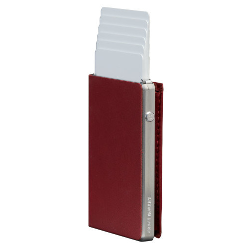 Craft Wallet Red Leather Silver Aluminum Standing cards Released