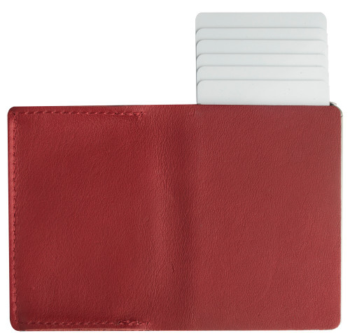 Craft Wallet Red Leather Silver Aluminum Standing Open Cards Release Back  of Wallet