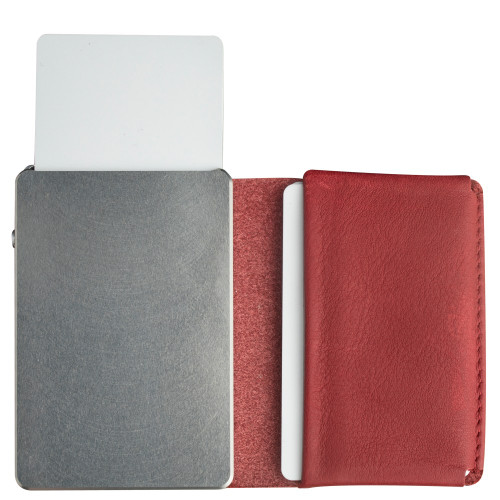 Craft Wallet Red Leather Silver Aluminum Standing Open Cards Released Front of Wallet