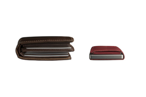 Craft Wallet Red Leather Silver Aluminum Closed Top View With Cards Inside vs Fat Leather Wallet