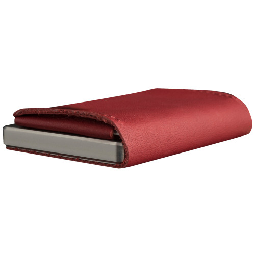 Craft Wallet Red Leather Silver Aluminum Closed Bottom Right Side Corner View With Cards Inside