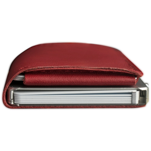 Craft Wallet Red Leather Silver Aluminum Closed Top View With Cards Inside