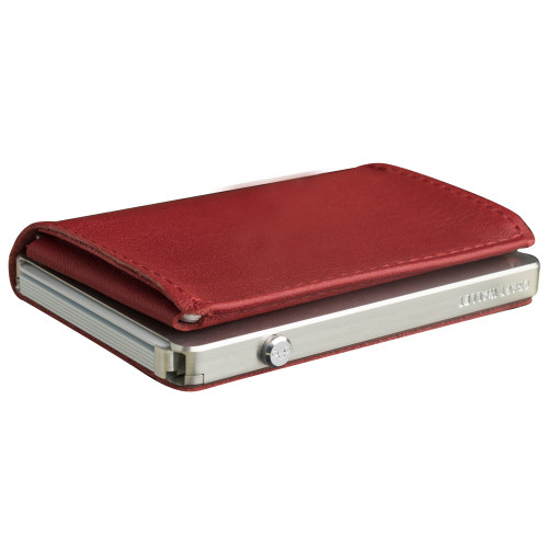 Craft Wallet Red Leather Silver Aluminum Closed Top Left Side Corner View With Cards Inside