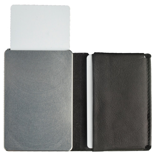 Craft Wallet Black Leather Silver Aluminum Standing Open Cards Released Front of Wallet