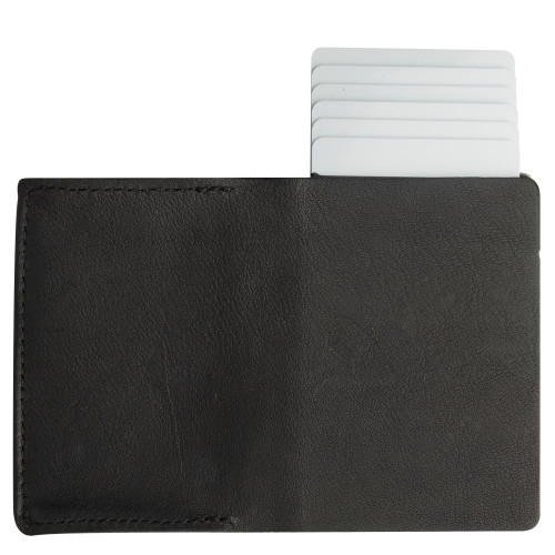Craft Wallet Black Leather Silver Aluminum Standing Open Cards Released Back  of Wallet