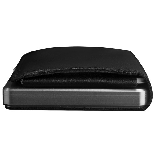 Craft Wallet Black Leather Silver Aluminum Closed Bottom Side View With Cards Inside