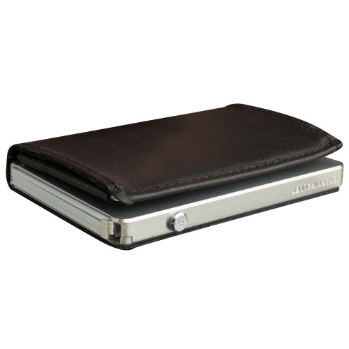 Craft Wallet Black Leather Silver Aluminum Closed Top Left Side Corner View With Cards Inside