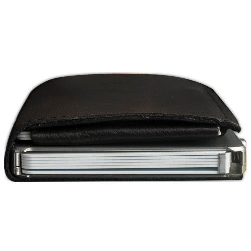 Craft Wallet Black Leather Silver Aluminum Closed Top View With Cards Inside