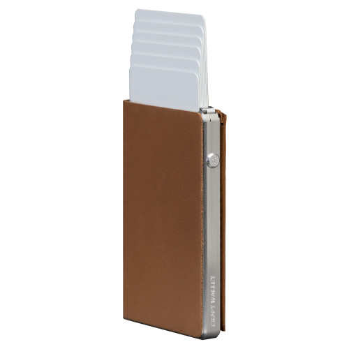 Craft Wallet Camel Leather Silver Aluminum Standing cards Released