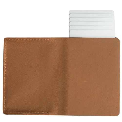 Craft Wallet Camel Leather Silver Aluminum Standing Open Cards Released Back  of Wallet