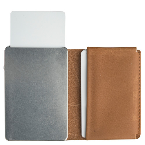 Craft Wallet Camel Leather Silver Aluminum Standing Open Cards Released Front of Wallet
