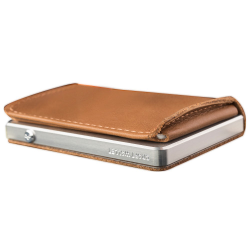 Craft Wallet Camel Leather Silver Aluminum Closed Bottom Left Side Corner View With Cards Inside