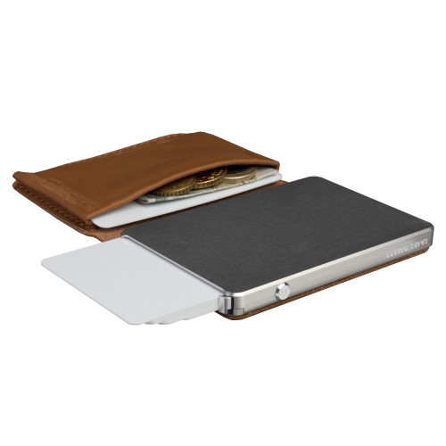 Craft Wallet Camel Leather Silver Aluminum Angled Open Top Left Side Corner View with Cards Released