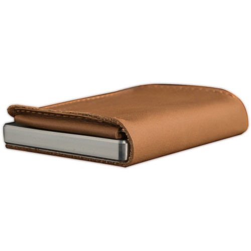 Craft Wallet Camel Leather Silver Aluminum Closed Bottom Right Side Corner View With Cards Inside