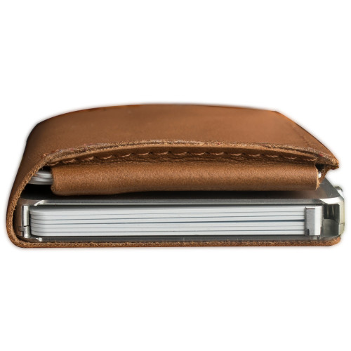Craft Wallet Camel Leather Silver Aluminum Closed Top View With Cards Inside