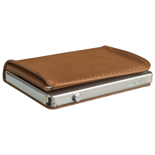 Craft Wallet Camel Leather Silver Aluminum Closed Top Left Side Corner View With Cards Inside