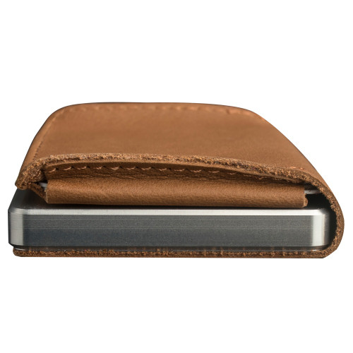Craft Wallet Camel Leather Silver Aluminum Closed Bottom Side View With Cards Inside
