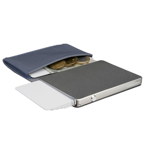 Craft Wallet Navy Leather Silver Aluminum Angled Open Top Left Side Corner View with Cards Released
