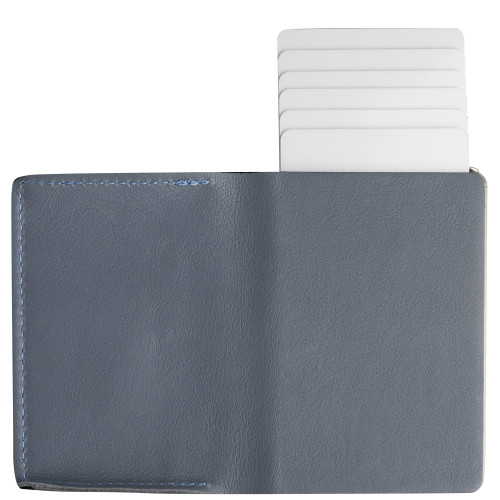Craft Wallet Navy Leather Silver Aluminum Standing Open Cards Released Back  of Wallet