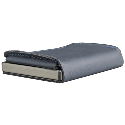 Craft Wallet Navy Leather Silver Aluminum Closed Bottom Right Side Corner View With Cards Inside