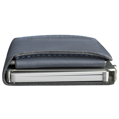 Craft Wallet Navy Leather Silver Aluminum Closed Top View With Cards Inside