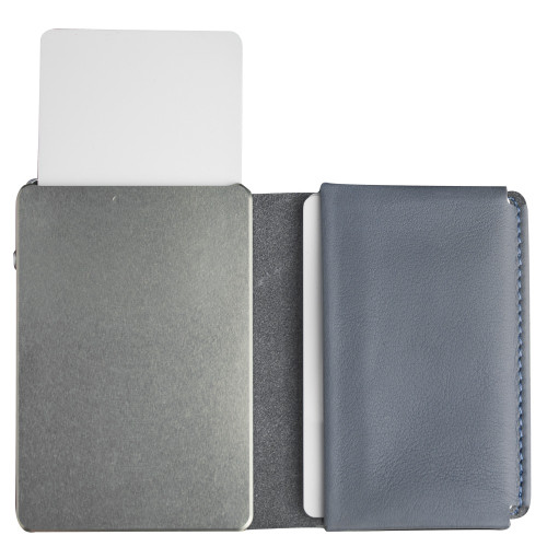 Craft Wallet Navy Leather Silver Aluminum Standing Open Cards Released Front of Wallet