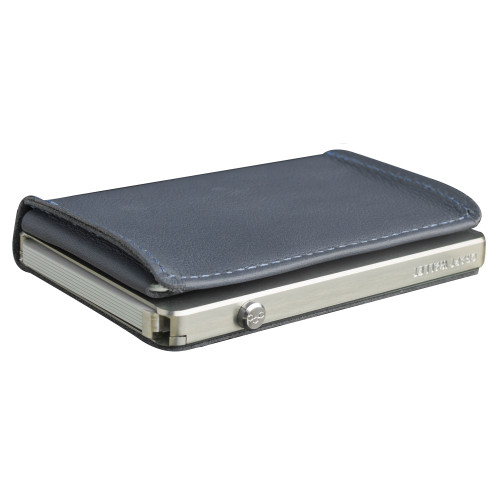 Craft Wallet Navy Leather Silver Aluminum Closed Top Left Side Corner View With Cards Inside