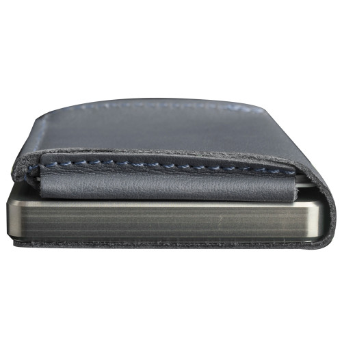 Craft Wallet Navy Leather Silver Aluminum Closed Bottom Side View With Cards Inside