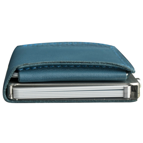 Craft Wallet Turquoise Leather Silver Aluminum Closed Top View With Cards Inside