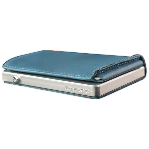 Craft Wallet Turquoise Leather Silver Aluminum Closed Bottom Left Side Corner View With Cards Inside