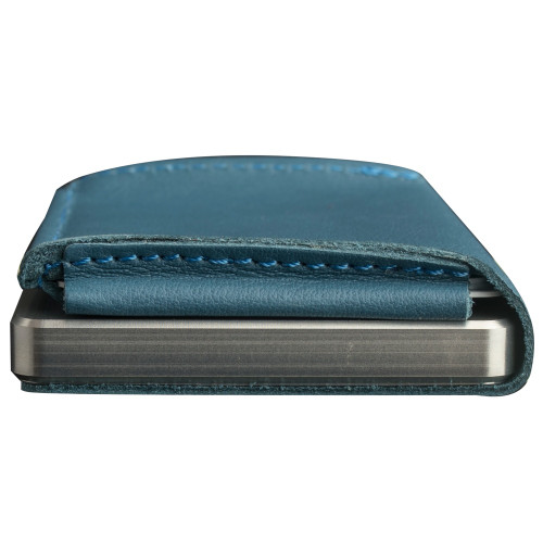 Craft Wallet Turquoise  Leather Silver Aluminum Closed Bottom Side View With Cards Inside