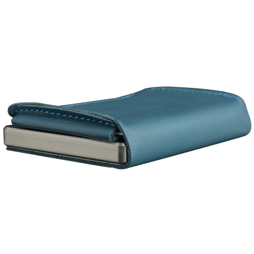 Craft Wallet Turquoise  Leather Silver Aluminum Closed Bottom Right Side Corner View With Cards Inside