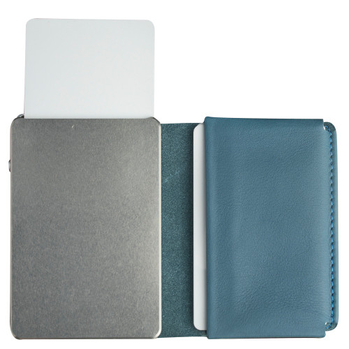 Craft Wallet Turquoise Leather Silver Aluminum Standing Open Cards Released Front of Wallet
