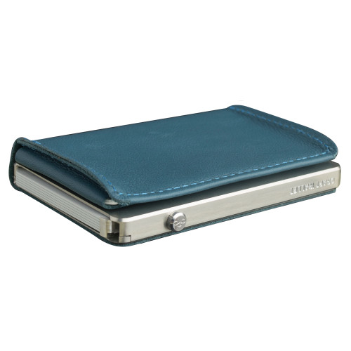 Craft Wallet Turquoise  Leather Silver Aluminum Closed Top Left Side Corner View With Cards Inside