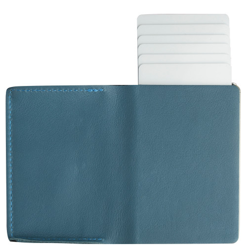 Craft Wallet Turquoise  Leather Silver Aluminum Standing Open Cards Released Back  of Wallet