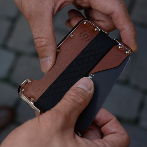Dango Dapper D02 Brown Leather Back Nickel Plated front in hand