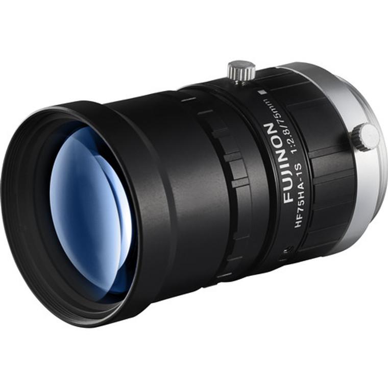"Fujinon HF75HA-1S 2/3"" 75mm F2.8 Manual Iris C-Mount Lens, 1.5 Megapixel Rated, Anti-Vibration & Shock Feature"