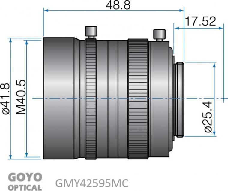 "Goyo Optical GMY42595MCN 1"" 25mm F0.95 Manual Iris C-Mount Lens, M40.5 x P0.5 Filter Thread"