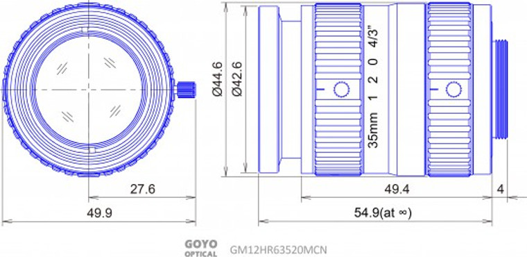 "Goyo Optical GM12HR63520MCN 4/3"" 35mm F2.0 Manual Iris C-Mount Lens"